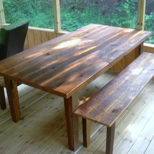 DiningTable and Benches in Reclaimed Antique Pine