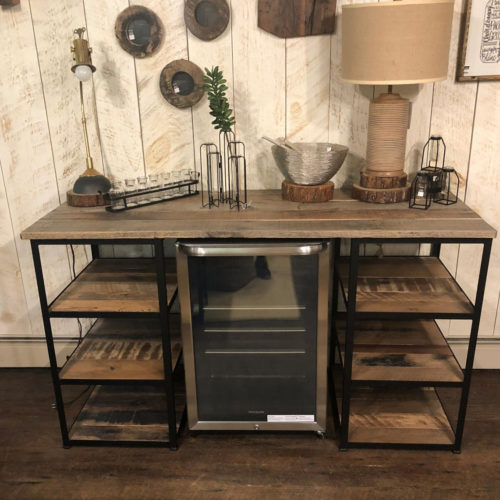 Double Shelf Bar Unit with Space for Beverage Fridge - Antique Reclaimed Pine and Steel Frame