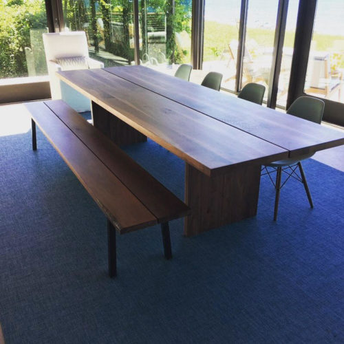 Double Walnut Slab Dining Table with Walnut Panel Base, Walnut and Steel Base Bench