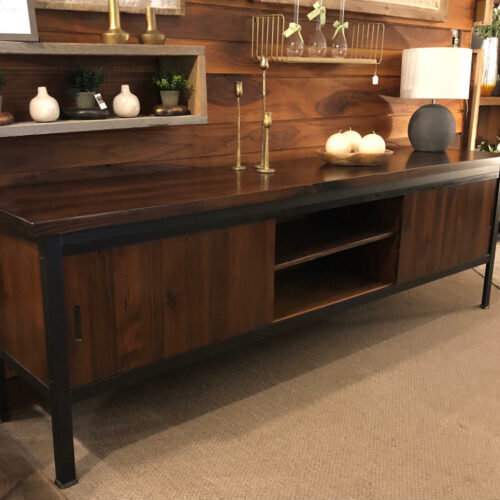 Entertainment Console in Antique Heart Pine with Steel Frame
