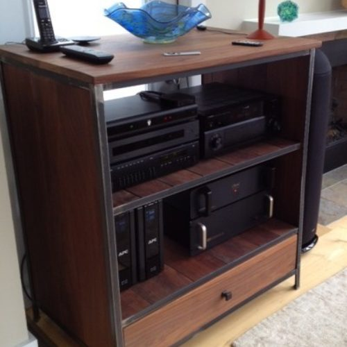 Entertainment Shelving Unit in Walnut with Steel Frame