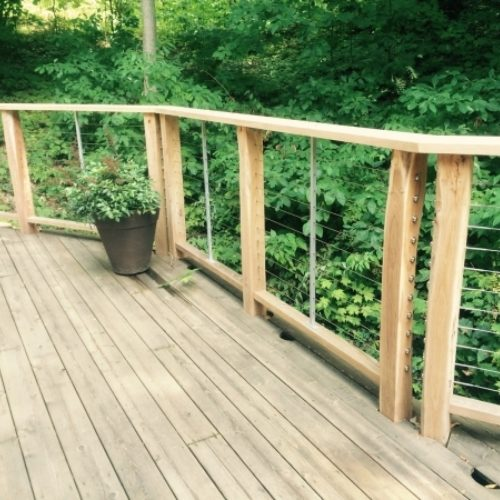 Exterior Railings in Re-purposed Black Locust and Wire Cable