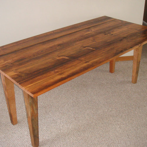 Dining Table in Antique Reclaimed Pine with Tapered Legs
