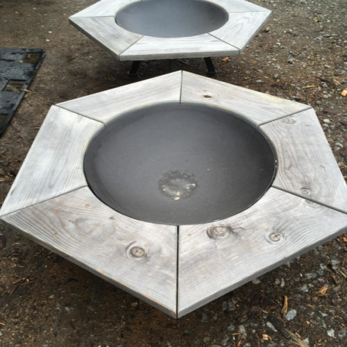 Fire Pits with Reclaimed Wood Table Perimeters