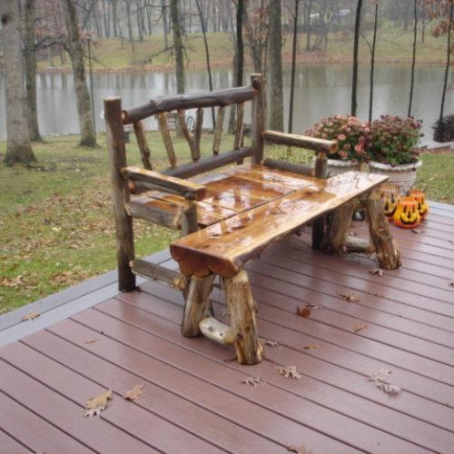 Garden Bench in Ancient Black Locust with Osage Orange Plank Seat. Half Log Bench in Cedar
