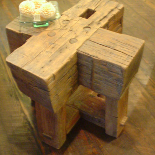 Hand Hewn Beam Side Table