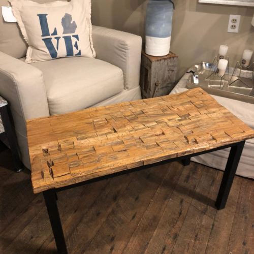 Coffee Table made from Reclaimed Antique Hand Hewn Hickory Beams with Steel Base