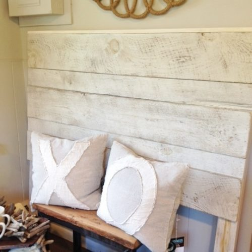 Headboard in Reclaimed Weathered White Pine with White Wash