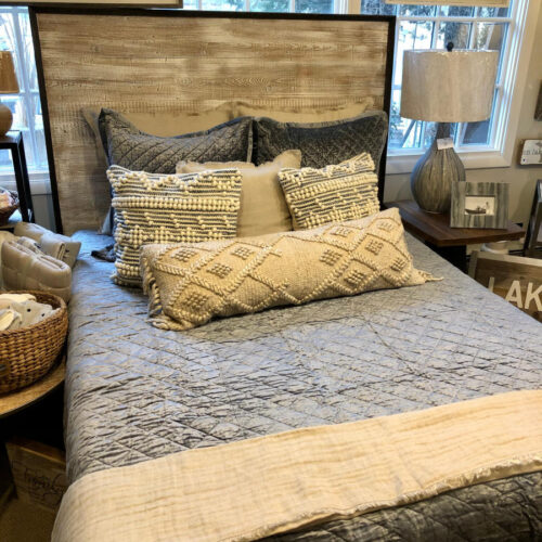 Headboard in Reclaimed White Washed Wood with Dark Accent Perimeter
