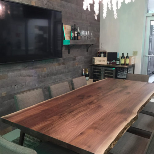 Hotel Banquet Table in Natural Edge Walnut with Steel Frame
