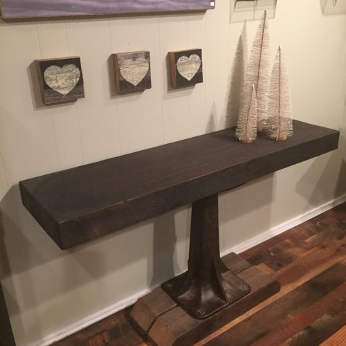 Console Table in Weathered White Pine with Vintage Industrial Cast Iron Pedestal Base