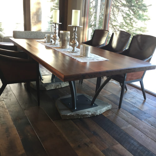 Dining Table in Redwood with Steel and Stone Base