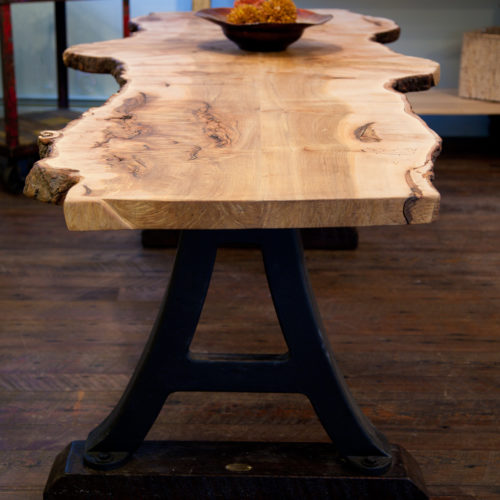 Dining Table with Maple Slab and Vintage Industrial Base