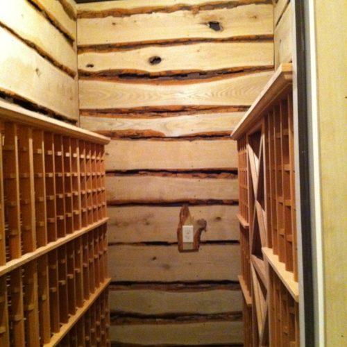 Natural Edge Sassafras Wine Cellar Paneling