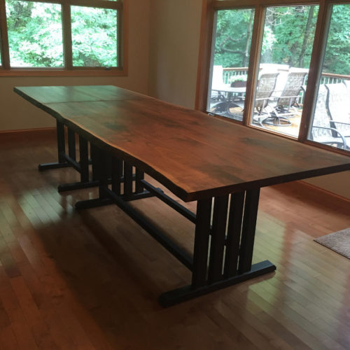 Natural Edge Walnut Counter Height Dining Table with two Buffet Extensions