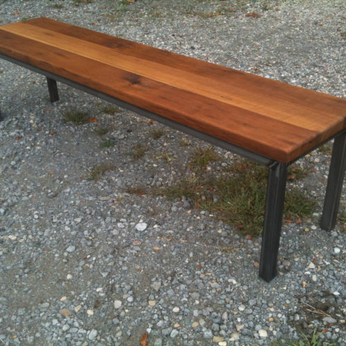 Bench in Antique Reclaimed Oak with Tubular Steel Base