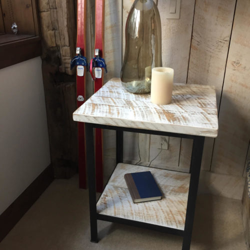 Nightstand/Side Table in Reclaimed Rough Sawn White Washed Pine and Steel Base