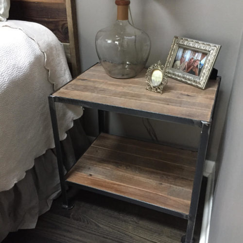 Nightstand with Steel Angle Iron Frame and Reclaimed Wood Top and Shelf
