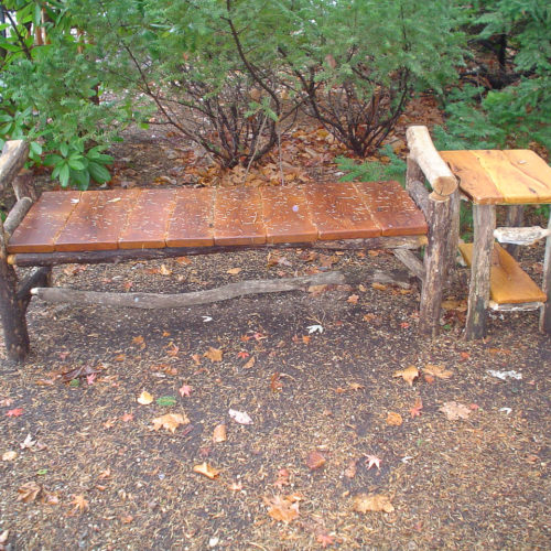 Outdoor Bench and Side Table in Osage Orange and Ancient Locust