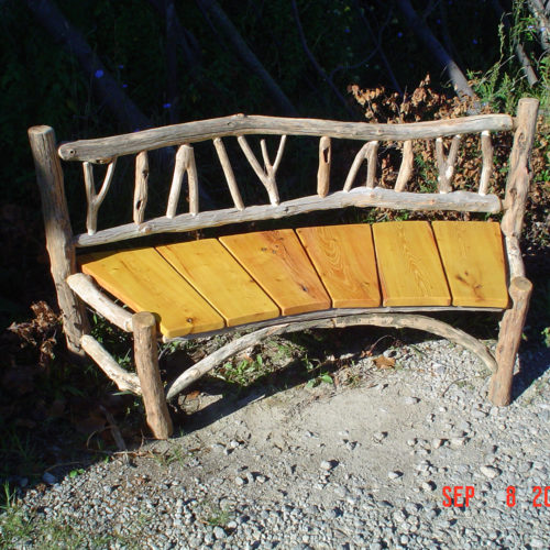Outdoor Bench in Ancient Locust with Osage Orange Seat Slats