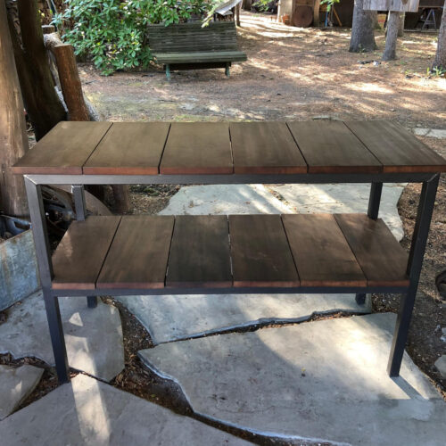 Outdoor Buffet Table in Antique Redwood with Powder Coated Steel Frame