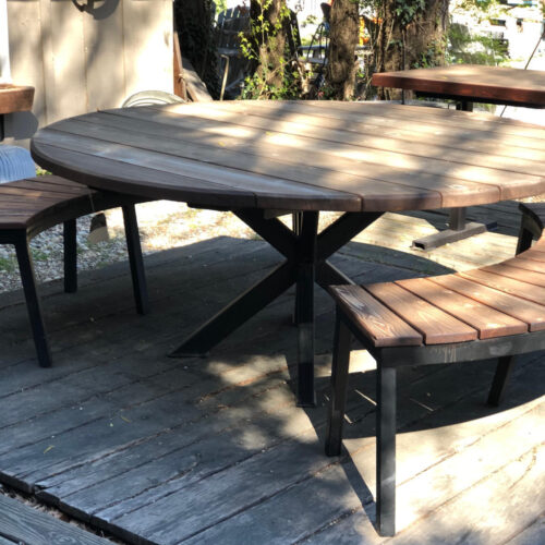 Outdoor Dining Table in Cedar with Double X Steel Base