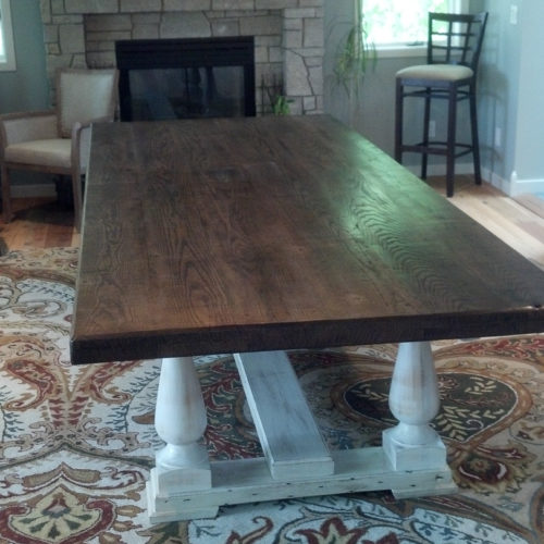 Dining Table in Antique Reclaimed Oak with White Washed Turned Leg Base