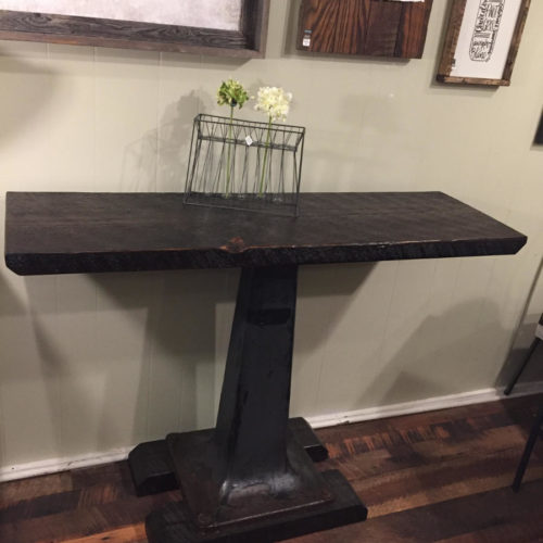 Pedestal Console with Weathered White Pine Top and Vintage Cast Iron Base