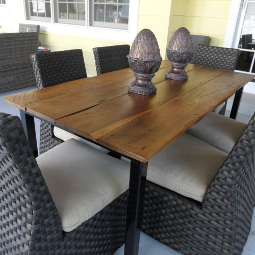 Dining Table in Antique Reclaimed Wire Brushed Hardwood with Tubular Steel Base