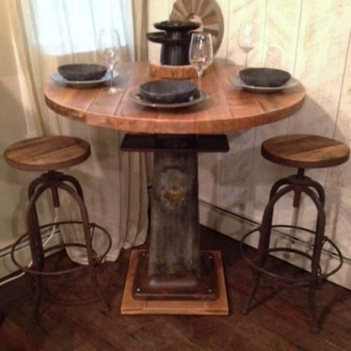 Pub Table with Vintage Industrial Base and Antique Reclaimed Maple Top