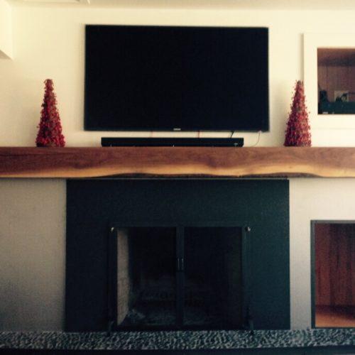 Re-Purposed Walnut Beam Mantle
