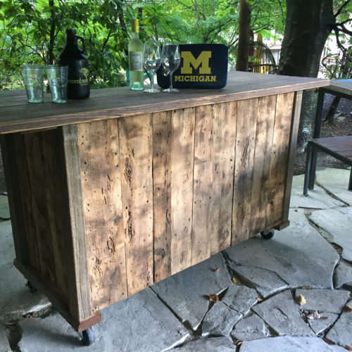 Reclaimed Wood Rolling Bar