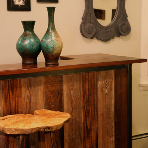 Reclaimed Wood Rolling Bar with Douglas Fir Top