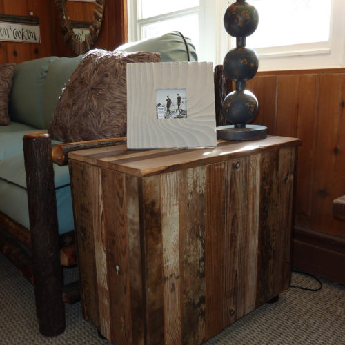 Reclaimed Barn Wood Storage Side Table