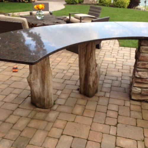 Reclaimed Black Locust Table Supports for Outdoor Bar