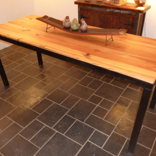 Dining Table in Reclaimed Antique Heart Pine Set Into Steel Angel Iron Frame
