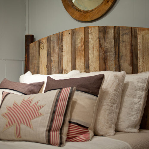 Headboard in Reclaimed Barn Wood with Hickory Posts