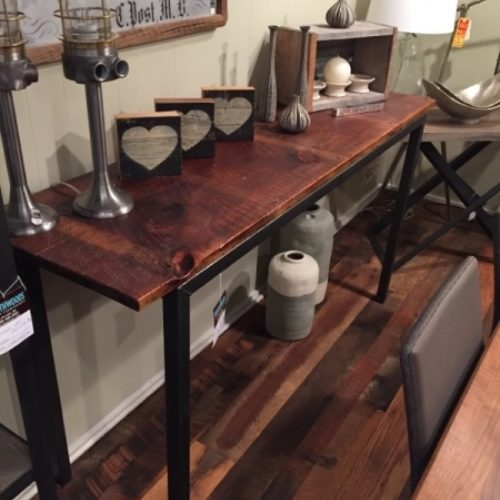 Reclaimed Wood Console with Metal Base