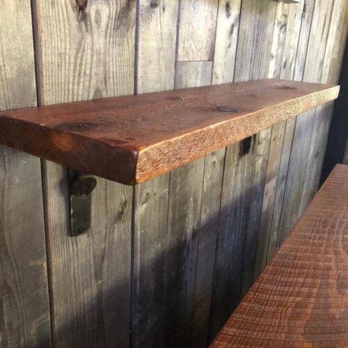 Reclaimed Wood Shelf with Steel Wrench Brackets