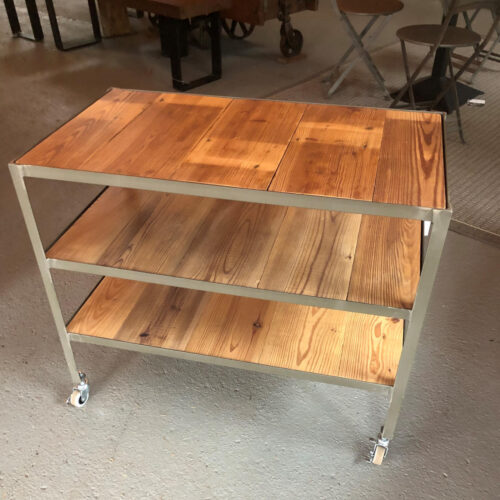 Rolling Cart in Antique Pine with Steel Frame on Wheels
