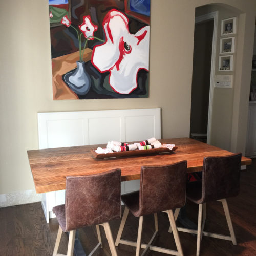 Dining Table in Rough Sawn Reclaimed Oak with Steel Base