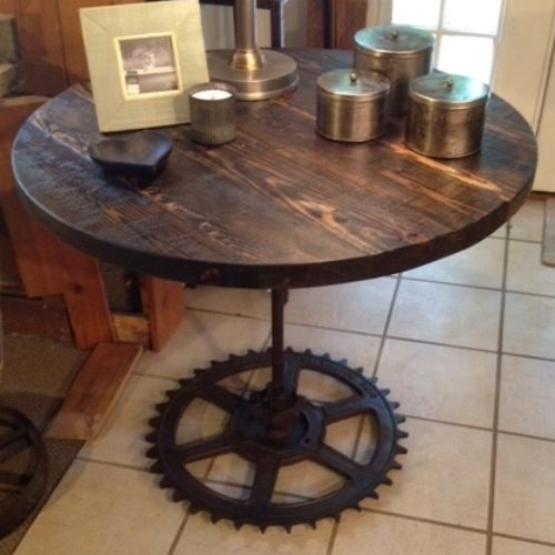 Round Cafe Table in Reclaimed Heart Pine with Vintage Industrial Cog Wheel Base