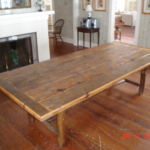 Rustic Dining Table in Reclaimed Antique Pine with Log Base