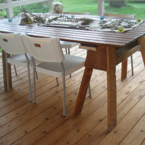 Dining Table with Reclaimed Wood Top and Rough Sawn Oak Saw Horse Base