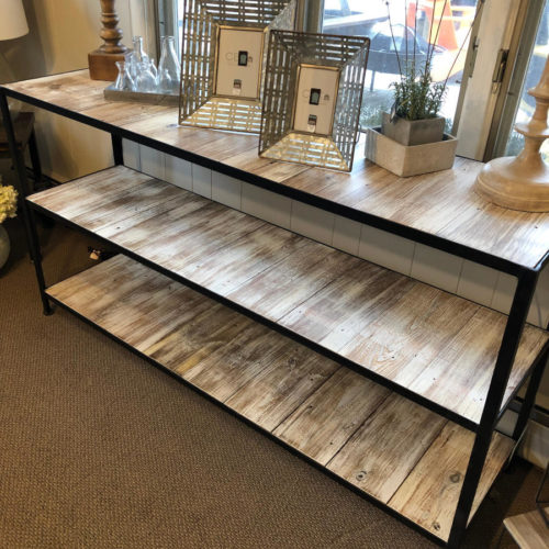 Shelving Unit/Buffet with Steel Frame and White Washed Antique Heart Pine