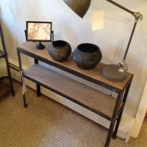 Shelving Unit Console with Antique Angle Iron Frame and Reclaimed Oak