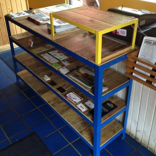 Shelving Unit in Antique  Reclaimed Heart Pine with Painted Steel Frame