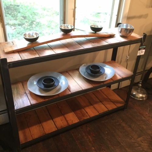 Shelving Unit in Antique Reclaimed Pine and Angle Iron Frame