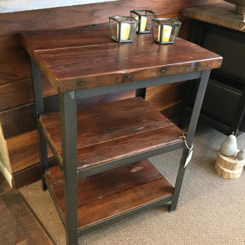 Shelving Unit in Antique Reclaimed Pine and Steel Angle Iron Frame