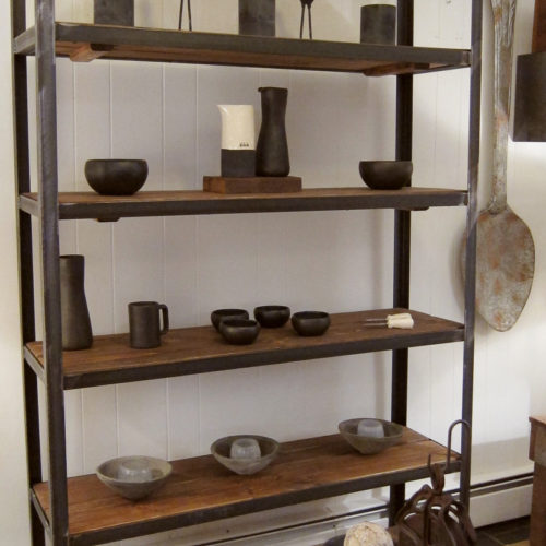 Shelving Unit with Steel Frame and Reclaimed Wood shelves